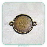 Camafeo conector bordecito bronce viejo- cabuchón de  18mm PQ038