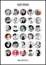 Lámina de 30 Imagenes Audrey Hepburn 30x30mm color