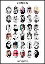 Lámina de 30 Imagenes Audrey Hepburn 30x40mm color