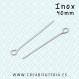 INOX - Bastón cabeza redonda hueca engarzar  40mm  (25unidades)