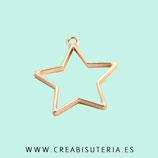 COLGANTE STAR/ Estrella dorado mate hueca mediana 35mm (8 unidades) P40