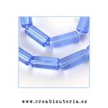 Abalorios -  Tubos de cristal 15x6mm - tira 22 unidades aprox. ATUBOS15M AZUL ACIANO