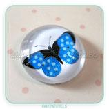 Cabuchón Cristal estampado Mariposa Azul puntitos