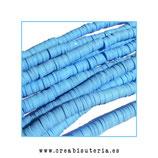 Abalorio arcilla Katsuki polimérica redondo plano 40cm  6mm (330 unidades apro) azul clarito