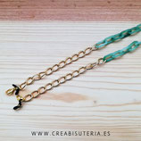 Producto acabado - Cuelgamascarillas o cuelgagafas cadena de eslabones verde y Dorado
