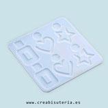Molde de silicona , Piezas variadas para pendientes, colgantes, etc (corazón, estrella, rectángulo) MS029