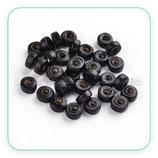 Madera abalorio  pequeño tubo plano  de color  negro 6x3mm (200piezas) Aba-Mad-C610-10