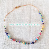 """Bisutería acabada - """"Verano"""" Collar mix piedra  y cristal bicolor - 003"""