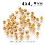 Entrepieza dorada - DO1- p11 -  Bicono redondeado dorado 4mm P011 (200 unidades aproximádamente)