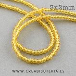 Abalorios -  Cristal facetado  3x2mm color amarillo dorado semitransparente R135