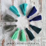 Adorno Borla pequeña MIX Azules/turquesa/gris  - 5 pares