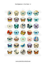 35 Imágenes vintage de mariposas II *Nuevas* 25x25mm