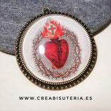 Colgante camafeo con cabuchón XL Sagrado Corazón de Jesús bronce viejo  CS001