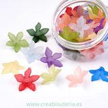 FLORLUCIT 04G-Flores acrílicas GRANDES 27x8mm colores mixtos  PP0001-07 (34 Unidades)