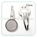 Accesorios pelo - Base Horquilla clip plata vieja para cabuchón de  20mm C002-01AS  (4 unidades)