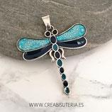 Colgante libélula mediana apliques resina tonos azul y turquesa con colgante CL001