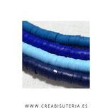 Abalorio arcilla Katsuki polimérica redondo plano 4MM Azul   (46cm de largo apro)