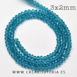 Abalorios -  Cristal facetado  3x2mm color azul prusia semitransparente P134