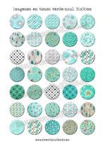 35 Imágenes de estampados tela tonos verde-azul 30x30mm
