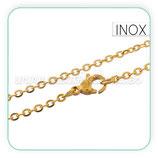 INOX - Cadena con cierre inox chapado en oro  60cm  Inox P07G
