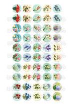 Lámina 50 Imágenes estampados Flores Vintage II 25x25mm