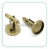 Gemelos 14 mm de cabuchón bronce viejo