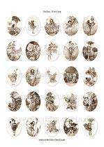 25 Imágenes para camafeos de Hadas SEPIA  Formato:30x40mm