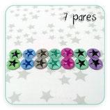 Cabuchones de cristal ESTRELLITAS MINIS COLORES EFECTO PURPURINA  (7 pares)