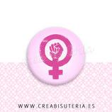 Cabuchón Cristal estampado símbolo Feminismo rosa