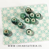 Abalorio cerámica 10mm verde azulado  ABC003 (10 unidades)