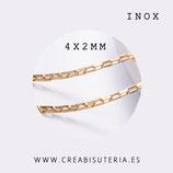 INOX - Cadena eslabón enlazado cuadrado dorado INOX 1mm (metro) P48Y
