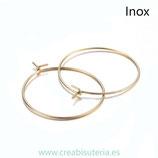 INOX bases aros sencillos inox dorados 25mm  25mm GDORADO  (5 pares)