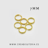 Anillas plateadas dobles doradas 7mm de diámetro de Latón  (50 unidades)