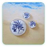 Cabuchón ilustrado SUMMER Alga azul marino 30mm + 14+14mm