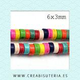 Abalorios Howlita tubular discos de colores 6x3mm M150 - 6mm