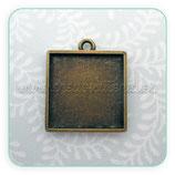Camafeo cuadrado bronce antiguo 25mm liso anilla pequeña CAMBAS-R15651 (10 unidades)