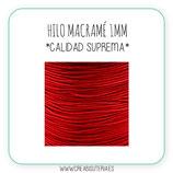 Cordón macramé 1mm  Calidad Suprema  Color Rojo (5 metros)