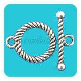 Cierre 022 - barra y aro plata antigua ACCCIE-C00031 (10 conjuntos)