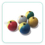Madera abalorio bola bicolor 18mm  (10 bolas colores variados)