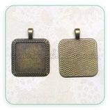 Camafeo cuadrado bronce antiguo 25mm CENEFA CAMBAS-A826 (2 unidades)