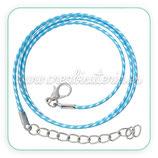 Correa collar algodón encerado 1,5mm azul y blanco COR-C57861 - 10 unidades