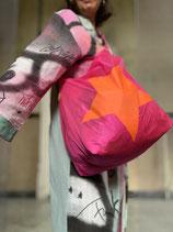 X L Shopper /pink mit orangem Stern