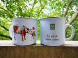 """Camping Emaille Tasse  """"Kuh und Kalb gehören zusammen!"""""""