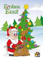"""Postkarte """"Frohes Fest"""" - Weihnachtsschwein"""