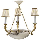 Alabaster Brass Chandelier Empire Style