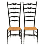 Pair of Midcentury High Back Ebonized Chiavari Chairs