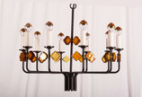 Scandinavian Glass & Iron Chandelier by Svend Aage Holm Sorensen