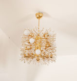 Impressive Brass and Glass Chandelier Designed by Emil Stejnar