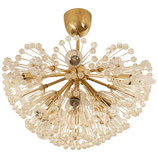 Impressive Emil Stejnar Brass and Glass Sputnik Snowball Chandelier