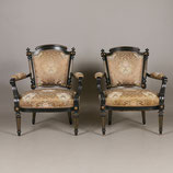 Ebonized Gildwood Louis XVI Armchairs